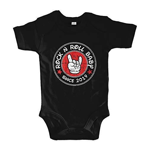 net-shirts Organic Baby Body mit Rock N ROLL Baby Aufdruck Spruch lustig Strampler Babybekleidung aus Bio-Baumwolle mit Zertifikat, Größe 3-6 Monate, Schwarz