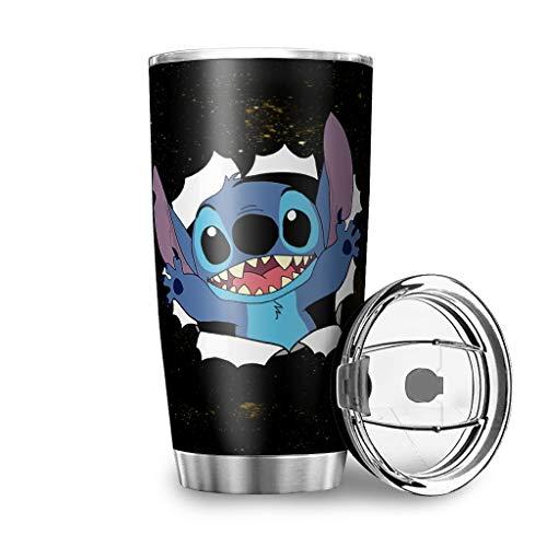 Caixiabeauty Taza de café de acero inoxidable de Stitch, a prueba de...