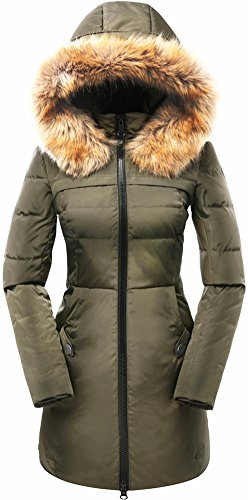 Beinia Valuker Women's Down Coat Hooded 90D Parka Puffer Jacket Plus Size 57-Green-1X