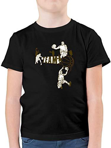 Sport Kind - Basketball Team - 164 (14/15 Jahre) - Schwarz - Shirt Basketball 104 - F130K - Kinder Tshirts und T-Shirt für Jungen