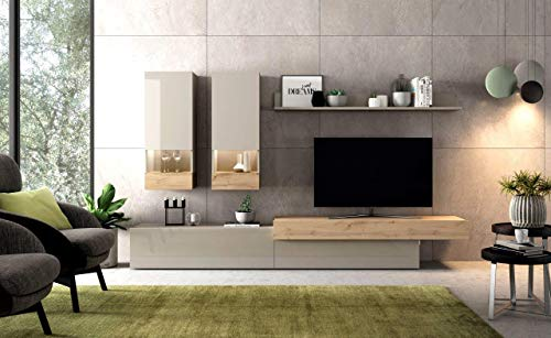 ambiato Wohnwand Aura 1 Grau Hochglanz 280cm Glasvitrine XXL Lowboard Anbauwand modern
