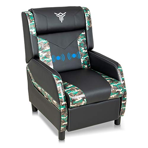 Massage Gaming Recliner Chair with Footrest Racing Style, Single Ergonomic Lounge Sofa Modern PU Leather Reclining Home Theater Seating for Living & Gaming Room (Green)