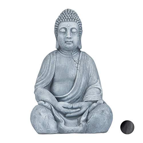 Relaxdays Estatua Buda Sentado XL para Jardín, Cerámica, Gris Oscuro, 50 cm