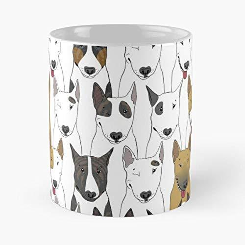 Dog Bull Terrier Pattern English Friend Seamless Multicolor La mejor taza de café de cerámica blanca de 315 ml