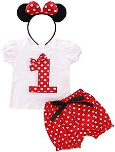 IWEMEK Conjunto de ropa de verano de algodón de manga corta con tops y pantalones cortos con diseño de ratón en 3D, para niños y bebés, de 1 a 5 años 1 12-18 Meses