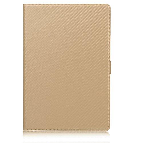 """ISIN Premium Carbonfaser Textur Schutzhülle Cover für Huawei Mediapad M5 10 CMR-AL09 CMR-W09 und M5 Pro CMR-AL19 CMR-W19 10,8"""" Android Tablet PC mit Kartenschlitzen(Gold)"""
