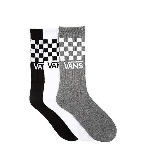 VANS | Classic Crew-Socks | 3 Pair Pack, Multi-Checkered (Black, Grey & White) - Large (9.5-13)