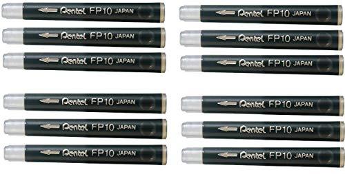 Pentel Arts - Juego de recambio de 12 cartuchos de tinta negra para rotulador de bolsillo con punta de pincel