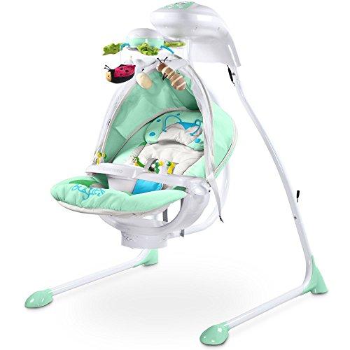 Elektrische DeLuxe Babyschaukel Modell Bugies Käferdesign 3 Schaukelrichtungen mit Musik und Geräuschen Licht Mobile verstellbarer Sitz Timer MINT inklusive Moskitonetz Jungen und Mädchen