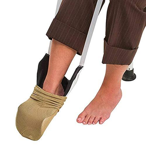 DMI Deluxe Sock Aid - Easily Pull on Socks Without Bending, Slip Resistance, White