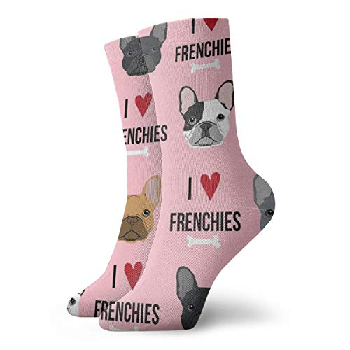 Short Socks for Men Boys - Cool Funny Youth I Love French Bulldogs Dress Socks, 12 Inch Wicking Polyester and Spandex Anklets Short Socks, Party Birthday Holiday Gift Socks