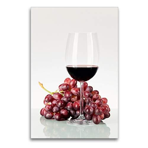 CALVENDO Premium Textil-Leinwand 60 x 90 cm Hoch-Format Rote Weintrauben und Rotwein im Weinglas, Leinwanddruck von Wolfgang Steiner