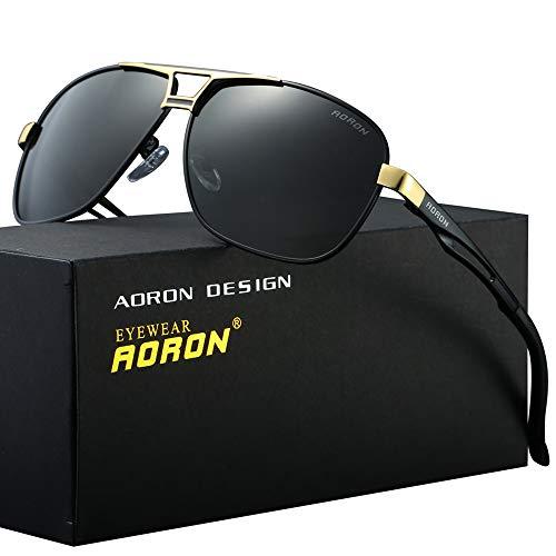 AORON Polarisierte Herren Sonnenbrille Polarisierte Outdoor Sportbrille 100% UV400 Schutz Fahren Sonnenbrille (Gold)