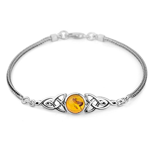 Chuvora Sterling Silver Genuine Amber Stone Celtic Trinity Knot Triquetra Triskelion Trikele Bracelet 8'
