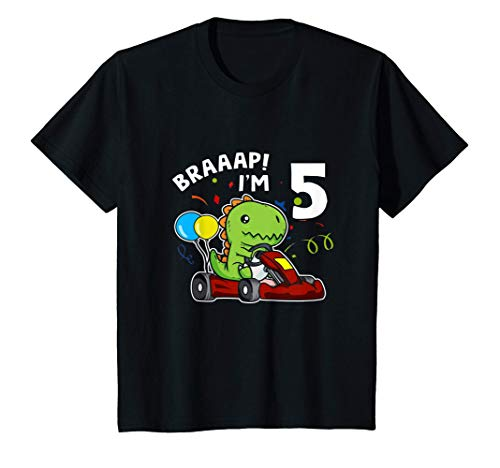 Nios 5 Cumpleaos Go Kart 5 Aos T-Rex Piloto De Carreras Camiseta