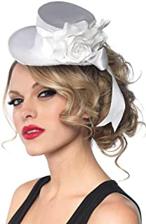 Women's Satin Top Hat With Flower And Bow Accent