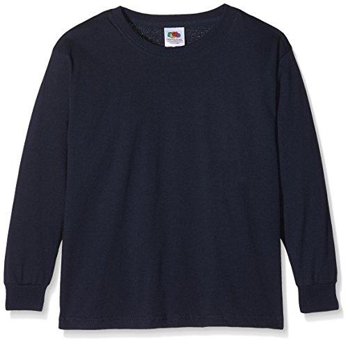 Fruit of the Loom Jungen Valueweight Long Sleeve T Kids Langarmshirt, Blau (Deep Navy 202), 140 (Herstellergröße: 9-11)
