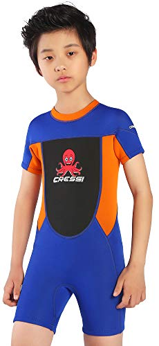Cressi Unisex-Baby Smoby Shorty Wetsuit Neoprenanzug 2 mm für Kinder, Blau/Orange, 5/6 Jahre