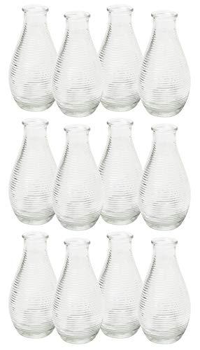 MIK Funshopping Dekoflaschen Vase Fläschchen aus Glas modern Decor 14 x 7 cm (Klar nur Streifen, 12)