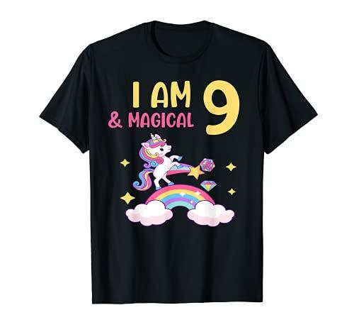 Chicas I am 9 & Magical Birthday Unicorn Rainbow 9 años Camiseta