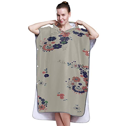 Yushg Indian Style Flower Art Adult Towel Poncho Towel Surf Poncho Surfing Towel Poncho for Surfing Swimming Bathing One Size Fit All