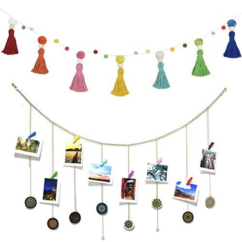 DrCor Rainbow Tassel Pom Pom Garland with Boho Hanging Photo Display Garland
