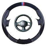 Wongzt Cubierta Negra para Volante de Coche, Nissan March Sunny Versa 2013 Almera, Trenza de Cuero para Volante automático