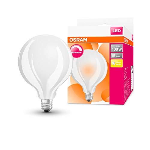 Osram Lampada LED | Attacco: E27| Bianco Caldo | 2700K | 12W | ricambio per lampadine da 100W | LED Star Classic Globe Dimmable
