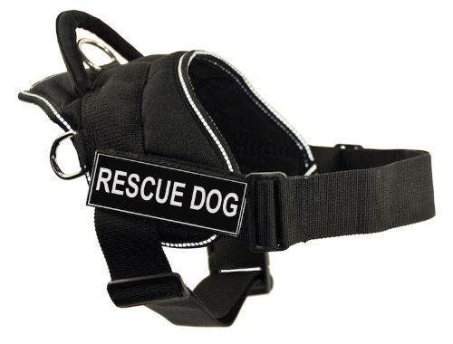 Dean & Tyler DT Fun Works Hundegeschirr, Rettungshund, mit reflektierendem Rand, Größe M, passend für Körpergröße: 71,1 cm bis 86,4 cm, Schwarz