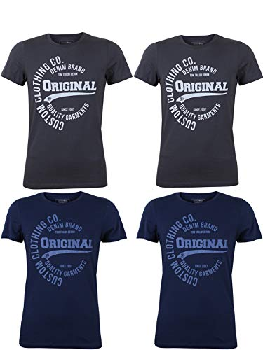 Tom Tailor Herren T-Shirt 4er Pack Kurzarm Rundhals O-Neck Basic Tee Shirt Logo Print Regular Fit 100{5833fb746113016f3c948c4d6571ca4b9ab46be9b243165dce73fbc49ee82e21} Baumwolle Grau Hellgrau Dunkelblau Blau S M L XL XXL 2XL, Größe:L, Farbe:Farbmix (P1)