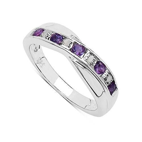 The Amethyst Ring Collection: Amethyst & Diamond Channel Set Crossover Eternity Ring in Sterling Silver (Size K)