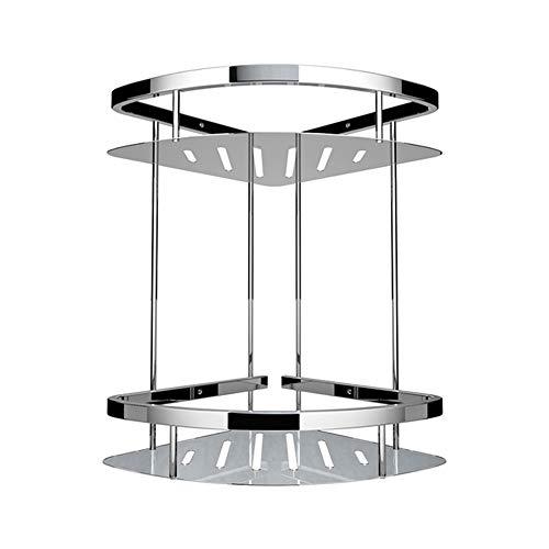 Estante para cestas de almacenamiento de esquina de ducha de 2 pisos, sin perforaciones Estantes de esquina de succión adhesivos Caddy de ducha para baño, WC, hotel, cocina (triángulo)