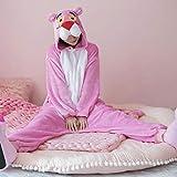 FZH Pijama Pijama de Pantera Rosa Kigurumi de Anime para Adultos, Pijama de Invierno cálido para Mujer, Disfraz de Cosplay para Adultos, camisón de Franela con Capucha-Pantera Rosa_SG
