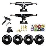 Ejes Skate, Ejes de Skate, 2Pcs 5' Aluminio Aleación Longboard Skateboard Camiones,Negro