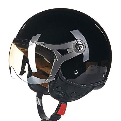 BEON Motorrad Halber Helm -100B MäNner Und Frauen Vier Jahreszeiten Jet Helm ABS BelüFtung Anti-Fog-Linse Motorradhelm FüR Harley,BlackB-M(54-56cm)
