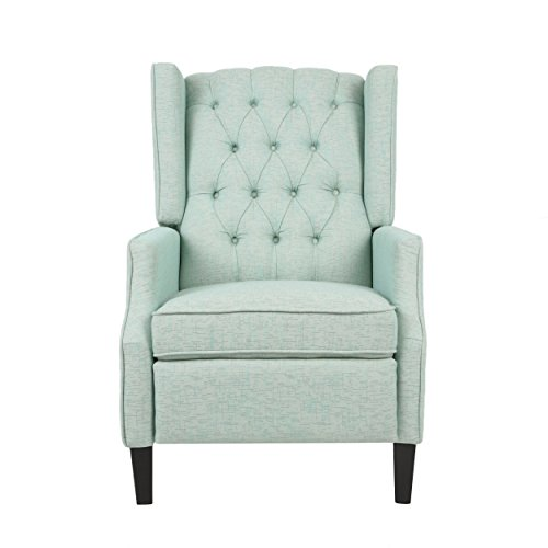 Christopher Knight Home Diana Wingback Recliner, Light Teal + Dark Brown