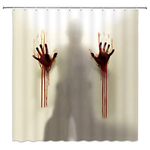 bdrsjdsb Halloween Ornamente Creepy Horror Bloody Hands Duschbad Vorhang Wasserdicht Wohnkultur