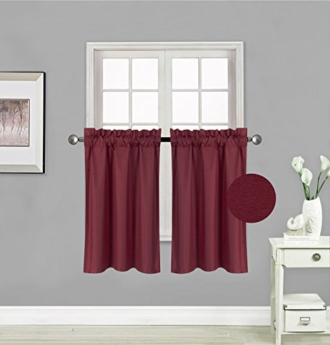 Elegant Home 2 Panels Tiers Small Window Treatment Curtain Insulated Blackout Drape Short Panel 30' W X 36' L Each for Kitchen Bathroom or Any Small Window # R5 (Burgundy)