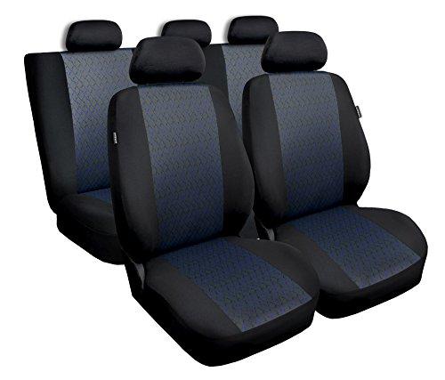 Universal Blau Polyester/Jaquard Sitzbezüge Komplettset Sitzbezug für Auto Sitzschoner Set Schonbezüge Autositz Autositzbezüge Sitzauflagen Sitzschutz Profi