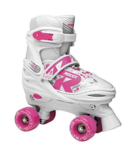 Roces Quaddy 2.0 Girl - Patines de Ruedas Ajustables para niña, Niñas, 550087, White-Pink, 38/41
