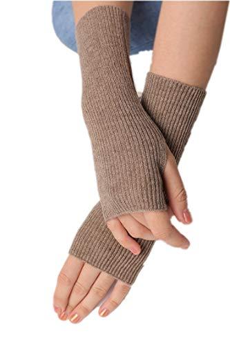 prettystern Gerippte Gestrickte 100% Kaschmir Fingerlose Handschuhe Pulswärmer Damen Stulpen Braun