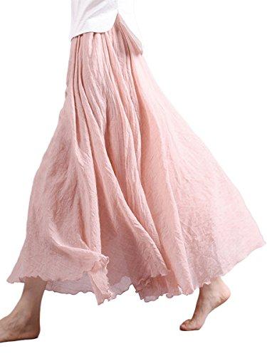 Damen Maxirock Baumwolle Lange Rock Tellerrock Doppelt Schicht Elastischer Bund Damenrock für Freizeit Urlaub Strand - Hell Rosa Länge 95cm
