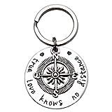 LParkin True Love Knows No Distance Compass Keychain Best Friend Keychain Boyfriend Girlfriend Long Distance Relationship Gifts
