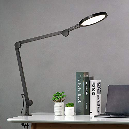 EYOCEAN 12W LED Schreibtischlampe Schwenkarm Architektenlampe Arbeitsleuchte Augenschutz Büro Tischlampe Berührungssteuerung Stufenloses Dimmen einstellbare Farbtemperaturen Timing-Funktion