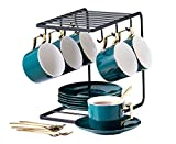 Jusalpha Dark Turquoise Green Fine China -7 OZ Tea Cup/Coffee Cup With Spoon and Tray/Saucer Set with Bracket, Serve of 6,TCS21(6)