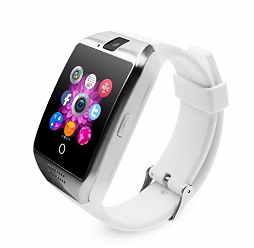 Smart Watch with Camera, Ezone Q18 Bluetooth Smartwatch with Sim Card Slot Fitness Activity Tracker Sport Watch for Android Smartphones (White)