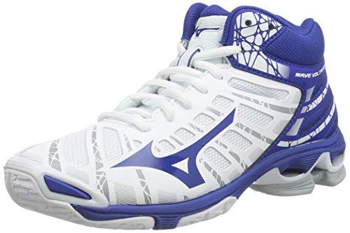 Mizuno Wave Voltage Mid, Zapatos de Voleibol Unisex Adulto, Blanco (Wht/Trueblue 21), 44 EU