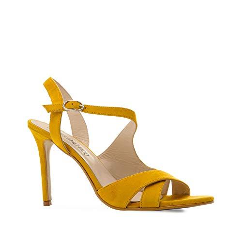 Andres Machado - Sandalen/Sandaletten mit Absatz für Damen, Mädchen - Valentina – Kreuzsandalen aus Leder mit Pfennigabsatz– Gelb, EU 43