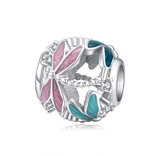 Abalorio de plata de ley con diseño de pájaro para pulseras Pandora (abalorios de mariposa rosa)