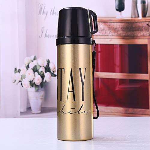 dongzhifeng Borraccia Termica Thermos Isolato sottovuoto in Acciaio Inox Bottiglia per l'acqua in Acciaio Inox Bottiglia da Viaggio Contenitore da Viaggio 500ml Bianco